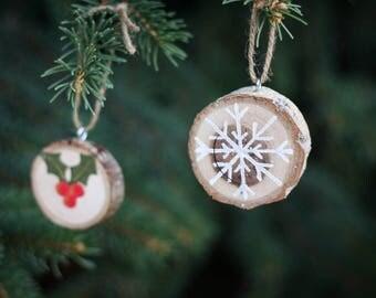 Wood Slice Christmas Ornament Set