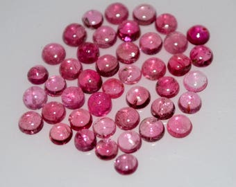 5 mm AAA pink tourmaline round  cabochon- top grade gemstone AAA quality