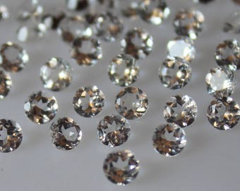 7 mm White Topaz round Faceted  Loose Gemstone AAA Quality