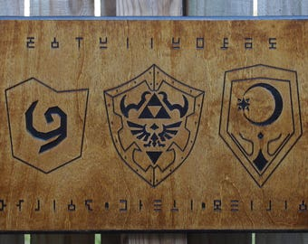 The Legend of Zelda: Ocarina of Time shield wood plaque, wall decor, man cave, office decor, game room