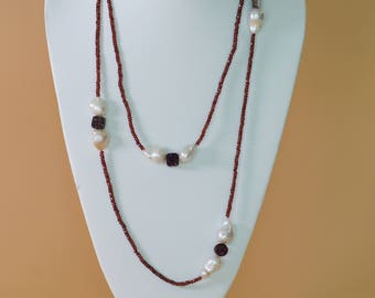 Peal Garnet and Druzy Necklace