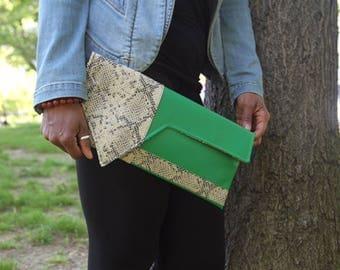 Asymmetric Contrast Beige Faux Python Snake -vs- Faux Green Leather Envelope Style Clutch