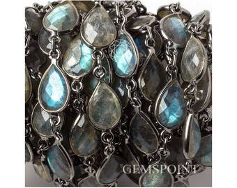 Labradorite Pear Connector Chains, Silver Plated Connector Chains, Labradorite Pear Bezel Connector Chains, 11x8mm, Sold By Foot (LAB-13954)