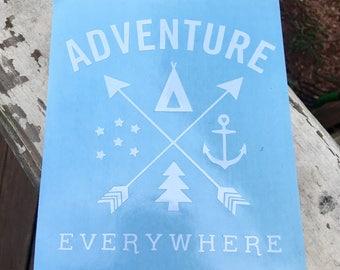 Adventure Everywhere Vinyl Decal; Adventure Decal; Yeti Decal; Vinyl Decal; Hiking Decal; Mountain Decal; Hiking; Adventures