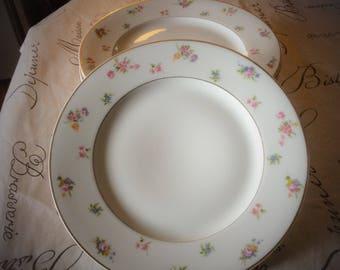1900 - Set of 4 dinner plates vintage French GDA Limoges porcelain