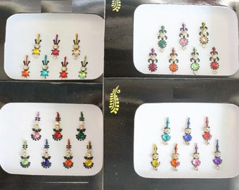 2 Packs Colored Long Face Bindi Stickers,Bridal Bindis Stickers,Long Bindis,Fashion Bindis,India Bindis,Wedding Bindis,Self Adhesive Sticker