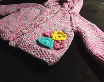 pink and gray handmade knitwear baby girl sweater