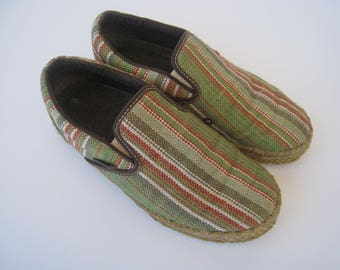 Madera Stripe *RARE* Organic HEMP Bamboo Charcoal Slip On VANS Women's Size 7.5