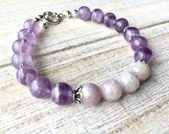 Amethyst Bracelet, Kunzite Bracelet, Genstone Bracelet, Boho Jewelry