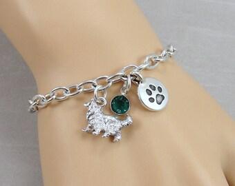 Collie Charm Bracelet, Border Collie Dog Bracelet, Initial and Birthstone Bracelet, Silver Plated Link Charm Bracelet