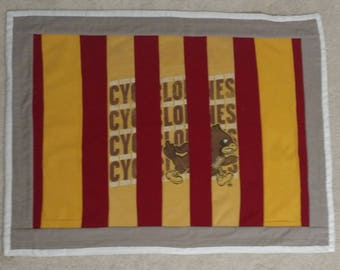 Baby Quilt-Iowa State University, Cardinal and Gold, *upcycled* t-shirt material