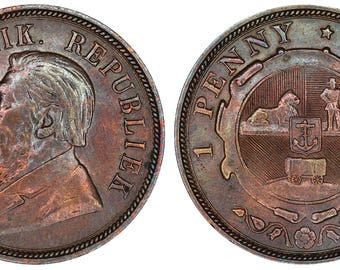 1898 penny Kruger South Africa bronze coin