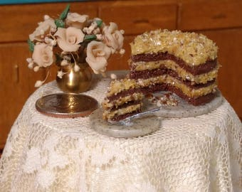 German Chocolate Three Layer Cake 1:12 Scale dollhouse desserts miniature cakes