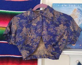 1930s RARE Antique Asian Silk Blouse Cheongsam Style Bolero Top Size XXS / XS