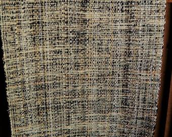 Black beige tweed handwoven tablerunner