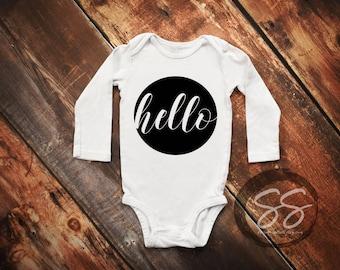 Hello Onesie®/Newborn Onesie®/Hello World Outfit/Coming Home Outfit/Hello World Onesie®/Hello/Newborn Outfit/Baby Shower Gift/Baby Onesie®