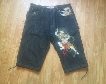 SUPER RARE denim Japanese art embroidered shorts board shorts , skateboarding shorts , head turning shorts , stuntin' on em' with this fire