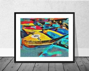 Henley Art Print, Henley Art, Boat Art, Pearly Boats, Henley on Thames, Colourful Print, Home Décor, Giclee Print, Wallart