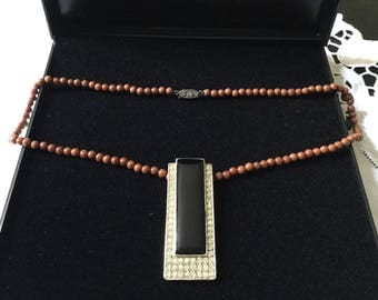 best price-ART DECO SUNSTONE Necklace - Vintage genuine stone - Sterling silver Huge pendant-Onyx and white-stone design, one-