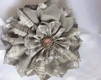 Grey patterned Shabby Chic Flower with Silver and Peach Gem 4""