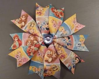 Handmade Disney Princess accessory, clip, hair bow, rosette.