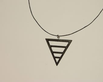 Necklace triangle wood