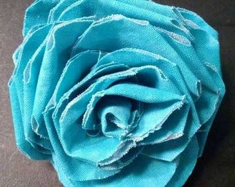 Fabric Rose Barrette Teal
