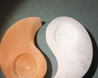 Yin and yang selenite candle holder