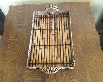 Vintage bamboo serving tray with handles, bamboo over metal