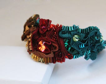 "Carnival Bronze bracelet, red and teal ""."