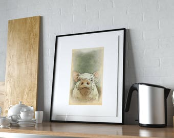 Pig Kitchen Decor, Farm Animal Wall Art, Rustic Nursery Ideas, Modern  Farmhouse,