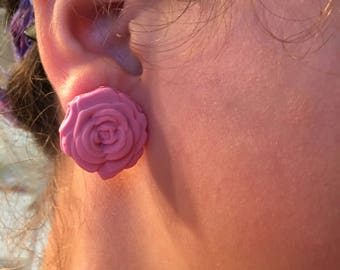 Pink Roses Earrings and Pendant