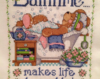 Cross Stitch Finished, Bear, Bathtime, Bathroom