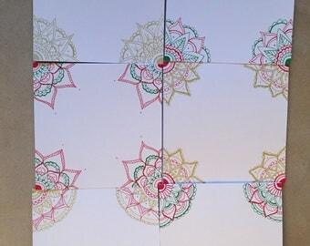 Hand drawn mandala Christmas cards
