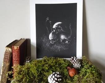 VASILISA | Monotype Folklore Print | Skulls + Poppies