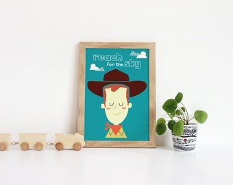 Toy story Print | Kids room wall art | Reach for the sky | Wall Art | Nursery Print |  Disney nursery decor | Toy story decor | Home Wall
