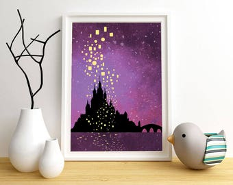 Castle lanterns Poster with night sky background