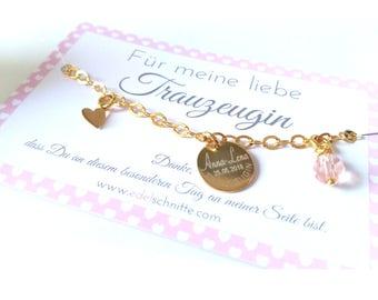"Bracelet ~ ""Wedding Witness"" ~ 925 silver Gold Plated"