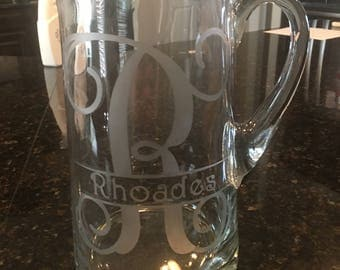 Glass Etched Cantina Pitcher