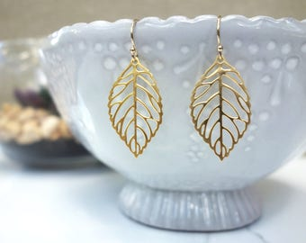 Matte Gold filigree leaf earrings with 14K gold filled ear wire
