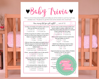 Baby Shower Trivia Game, Baby Trivia Game, DIY Baby Shower, Pink Baby Shower