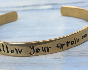 Follow Your Arrow Stamped Bracelet, Nugold Brass, Personalize