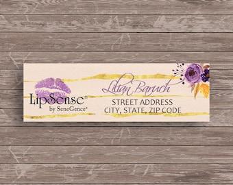 Lipsense Address Labels, Personalized printable lipsense return labels, Lipsense printable stickers, Watercolor Purple Flowers