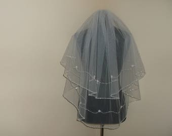 Ivory 2 Tier Rhinestone Flower Beaded Wedding Veil