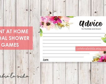 Advice Cards. Bridal Shower Game. Instant Download. Printable Bridal Shower Game. Pink Flowers. Pink - 01