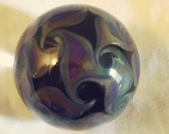 Handmade purple on black borosilicate glass art marble with embedded gilson opal by CHZ