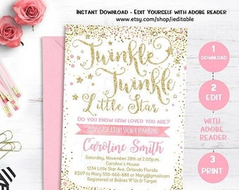 25% OFF SALE Twinkle Twinkle Little Star Baby Shower Invitation, Pink and Gold Invite, Gold Glitter, Editable invitation, Template, INSTANT