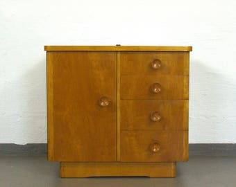 Vintage bedside table, chest of drawers in solid wood with four spurs-1950s
