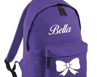 iLeisure Styalised Girls Name and Bowtie Printed Back Pack Rucksack