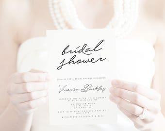 Bridal shower invitation, Elegant signature bridal shower bridal shower invitation, elegant bridal shower